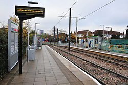 © Licensed to London News Pictures. 15/11/2016<br /> An empty platform near the scene of a tram derailment at Sandilands Station in Croydon. Tomorrow marks one week since the crash in which seven people were killed and more than 50 people were injured when the carriages flipped over. Photo credit :Grant Falvey/LNP