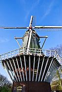The Keukenhof Windmill at Keukenhof Spring Tulip Gardens, Lisse, The Netherlands.