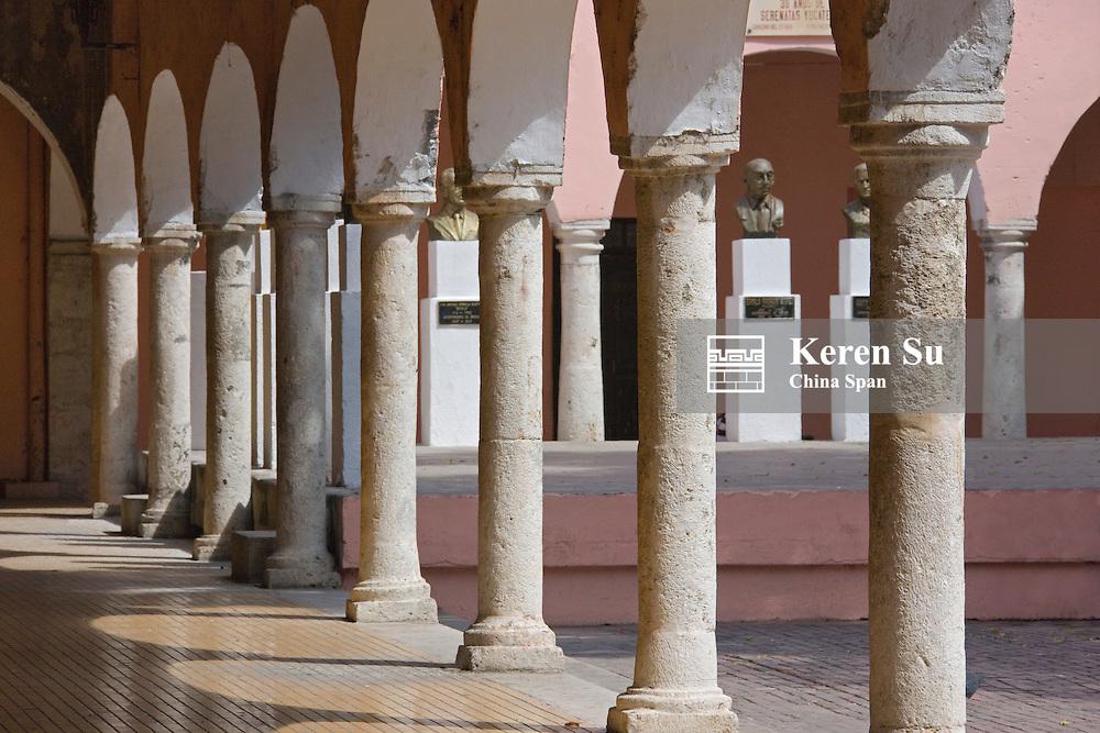 Columns of colonial building, Merida, Yucatan State, Mexico