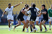 Tone Ng Shiu is tackled in the All Blacks Sevens match, Sky Stadium, Wellington, Sunday, April 11, 2021. Copyright photo: Kerry Marshall / www.photosport.nz