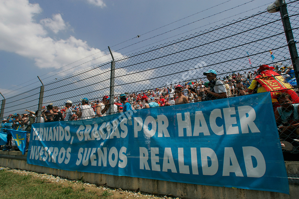 Fernando Alonso fans before the 2006 French Grand Prix at Magny-Cours. Photo: Grand Prix Photo