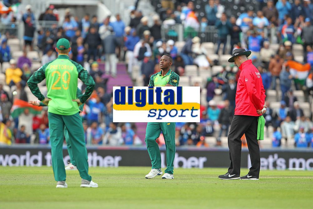 Cricket - 2019 ICC Cricket World Cup - Group Stage: South Africa vs. India<br /> <br /> Kagiso Rabada of South Africa looks dejected after David Miller of South Africa dropped an easy catch at the Hampshire Bowl Southampton England<br /> <br /> COLORSPORT/SHAUN BOGGUST