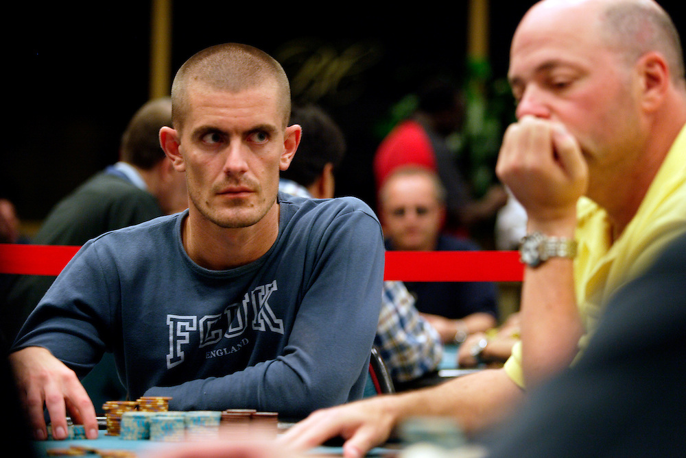 September 1, 2003: In poker,it's all about the eyes and trying to read your partner's body language. Gus Hanson, whose eyes scan the table to take in his competitors stategy, is a formidable foe on the World Poker Tour.