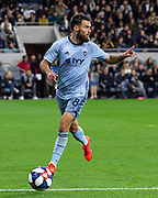 Sporting KC midfielder Graham Zusi (8) during a MLS soccer match against the LAFC in Los Angeles, Sunday, March 3, 2019. LAFC defeated Sporting KC, 2-1. (Ed Ruvalcaba/Image of Sport)