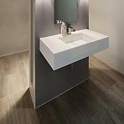 Modern bathroom, new trend design, sink with mirror