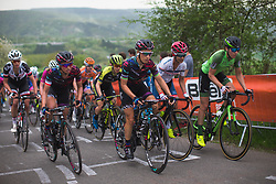 The front of the races rides near the top of La Redoute during Liege-Bastogne-Liege - a 136 km road race, between Bastogne and Ans on April 22, 2018, in Wallonia, Belgium. (Photo by Balint Hamvas/Velofocus.com)