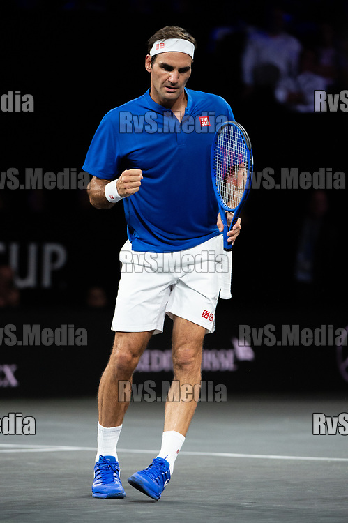 GENEVA, SWITZERLAND - SEPTEMBER 20: Roger Federer of Team Europe celebrates his point during Day 1 of the Laver Cup 2019 at Palexpo on September 20, 2019 in Geneva, Switzerland. The Laver Cup will see six players from the rest of the World competing against their counterparts from Europe. Team World is captained by John McEnroe and Team Europe is captained by Bjorn Borg. The tournament runs from September 20-22. (Photo by Robert Hradil/RvS.Media)