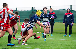 Will Capon (BGS) of Bristol Rugby Academy U18 passes to Sam Perry of Bristol Rugby Academy U18 - Mandatory by-line: Paul Knight/JMP - 11/02/2017 - RUGBY - SGS Wise Campus - Bristol, England - Bristol Academy v Gloucester Academy - Premiership Rugby Academy U18 League