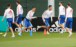 MOSCOW, July 4, 2018  Russia's players attend a training session in Moscow, Russia, on July 4, 2018. Russia will face Croatia in a quarter-final match of the 2018 FIFA World Cup on July 7. (Credit Image: © Bai Xueqi/Xinhua via ZUMA Wire)