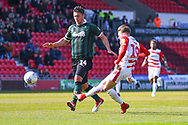 Alfie May of Doncaster Rovers (19) shoots during the EFL Sky Bet League 1 match between Doncaster Rovers and Plymouth Argyle at the Keepmoat Stadium, Doncaster, England on 13 April 2019.