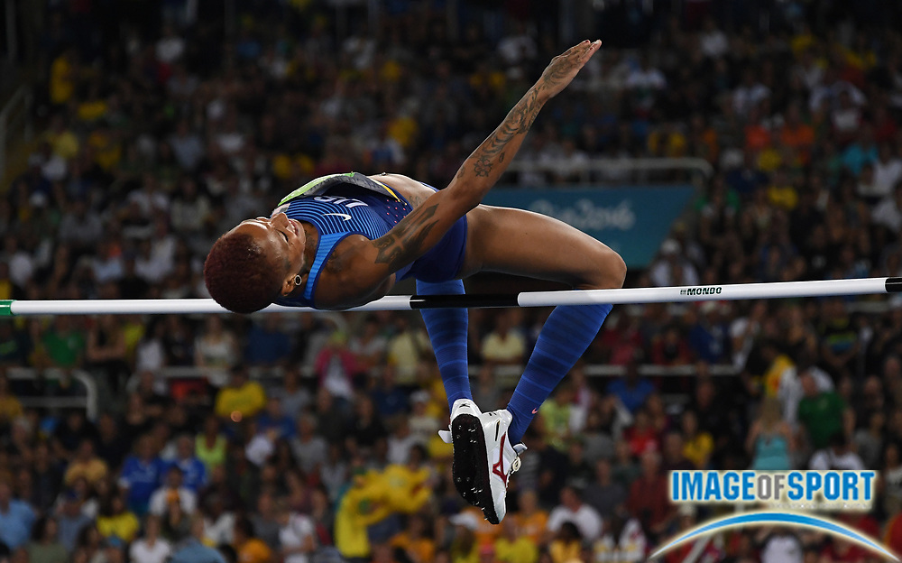 Aug 20, 2016; Rio de Janeiro, Brazil; Inika McPherson (USA) ties for10th in the women's high jump at 6-4 (1.93m) during the 2016 Rio Olympics at Estadio Olimpico Joao Havelange. <br /> <br /> *