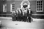 23/03/1966<br /> 03/23/1966<br /> 23 March 1966<br /> Regional Game Councils meet Minister for Lands at Department of Lands, Dublin. Mr Michael O Moarain, Minister for Lands met representatives of 24 Regional Game Councils. Also present were officials of the Department including Mr Timothy O'Brien, Secretary Dept. of Lands; P.S. VA Laoghaire and S.P. Mac Piarais, Assistant Secretary.  Picture shows Mr O' Morain, Minister for Lands (4th from left) with the participants at the talks after the meeting.