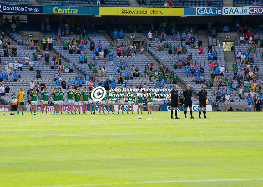 18-07-21. Meath v Dublin - Leinster SFC Semi-Final at Croke Park.<br /> The Meath team and match  officials standing to attention during the playing of Aran na bfhiann.<br /> Photo: John Quirke / www.quirke.ie<br /> ©John Quirke Photography, 16 Proudstown Road, Navan. Co. Meath. (info@quirke.ie / 046-9028461 / 087-2579454).