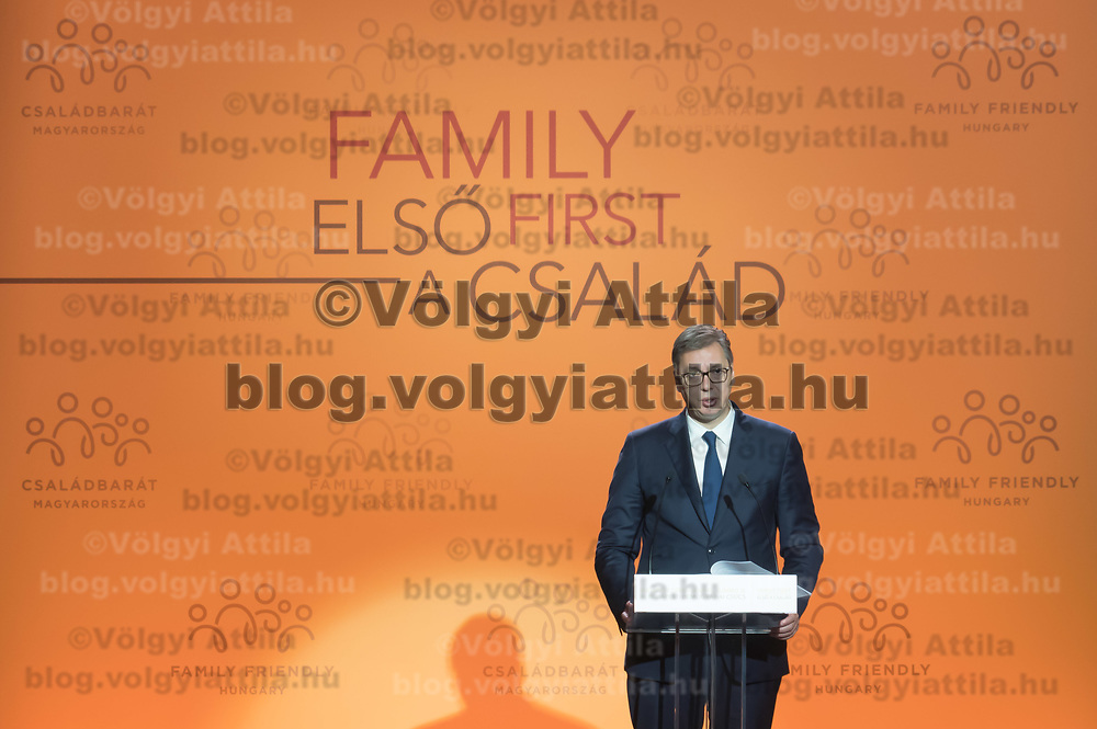 Aleksandar Vucic President of Serbia delivers his speech at the Budapest Demographic Summit in Budapest, Hungary on Sept. 5, 2019. ATTILA VOLGYI