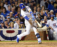 CHICAGO, IL - OCTOBER 15:  Javier Baez #9 of the Chicago Cubs hits his second double of the game in the sixth inning against the Los Angeles Dodgers during Game 1 of NLCS at Wrigley Field on Saturday, October 15, 2016 in Chicago, Illinois. (Photo by Ron Vesely/MLB Photos via Getty Images) *** Local Caption *** Javier Baez