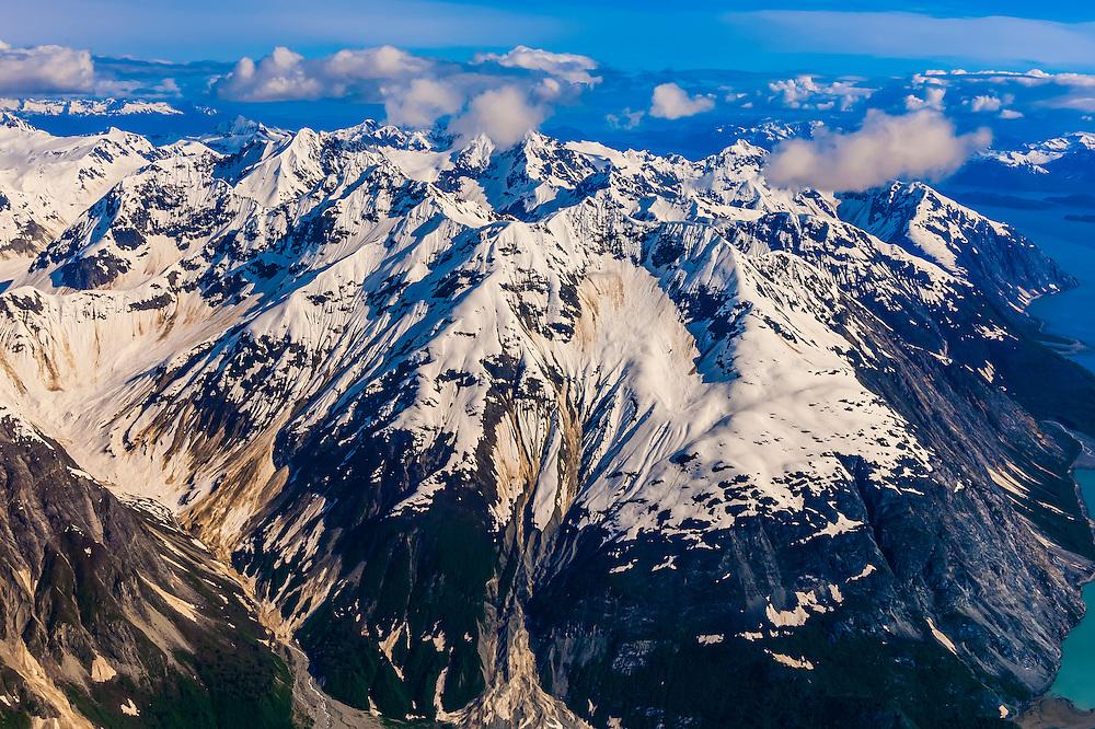 Aerial views above Glacier Bay National Park, southeast Alaska USA. Glacier Bay is a UNESCO World Heritage Site.