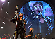 PERTH, AUSTRALIA - AUGUST 22:  Adam Lambert, Brian May and Roger Taylor perform on stage during the QUEEN and Adam Lambert Tour at Perth Arena on August 22, 2014 in Perth, Australia. This is the first QUEEN tour of Australia since 1985  (Photo by Paul Kane/Getty Images) *** Local Caption *** Brian May; Adam Lambert; Roger Taylor