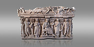 """Side panel of a Roman relief sculpted sarcophagus with kline couch lid, """"Columned Sarcophagi of Asia Minor"""" style typical of Sidamara, 3rd Century AD, Konya Archaeological Museum, Turkey. Against a grey background .<br /> <br /> If you prefer to buy from our ALAMY STOCK LIBRARY page at https://www.alamy.com/portfolio/paul-williams-funkystock/greco-roman-sculptures.html . Type -    Konya     - into LOWER SEARCH WITHIN GALLERY box - Refine search by adding a subject, place, background colour, museum etc.<br /> <br /> Visit our ROMAN WORLD PHOTO COLLECTIONS for more photos to download or buy as wall art prints https://funkystock.photoshelter.com/gallery-collection/The-Romans-Art-Artefacts-Antiquities-Historic-Sites-Pictures-Images/C0000r2uLJJo9_s0"""