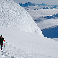 A mountaineer ascends Cordillera Sarmiento, a previously unexplored Chilean Range.