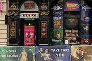 Theatre posters in the windows of a closed ticket shop on 25th May 2021 in London, United Kingdom. As the coronavirus lockdown continues its process of easing restrictions, more and more people are coming to the West End as more businesses open.