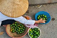 Vietnam. Hanoi. Marché dans le quartier des Trente six guides.  Marchande de citron. // Vietnam. Hanoi. Market on the old quarter. Lemon seller
