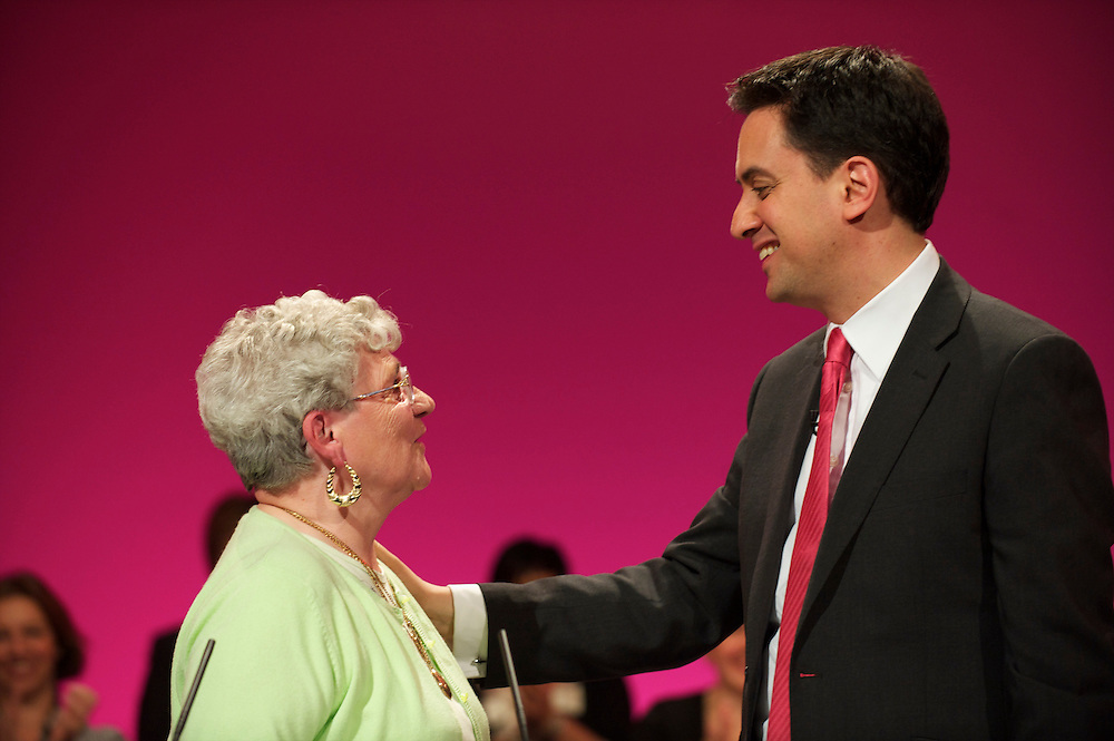 Ed Miliband greets  ____, a 77 year old that just registered with the Labour party, at the Labour Party Conference in Manchester on 29 September 2010, the penultimate day of annual assembly