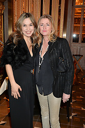 Left to right, VERONICA AGUILAR and JANE HICKEY at the Cash & Rocket Tour Announcement Launch Lunch in association with McArthur Glen was held at The Grill, The Dorchester, Park Lane, London on 12th March 2015.
