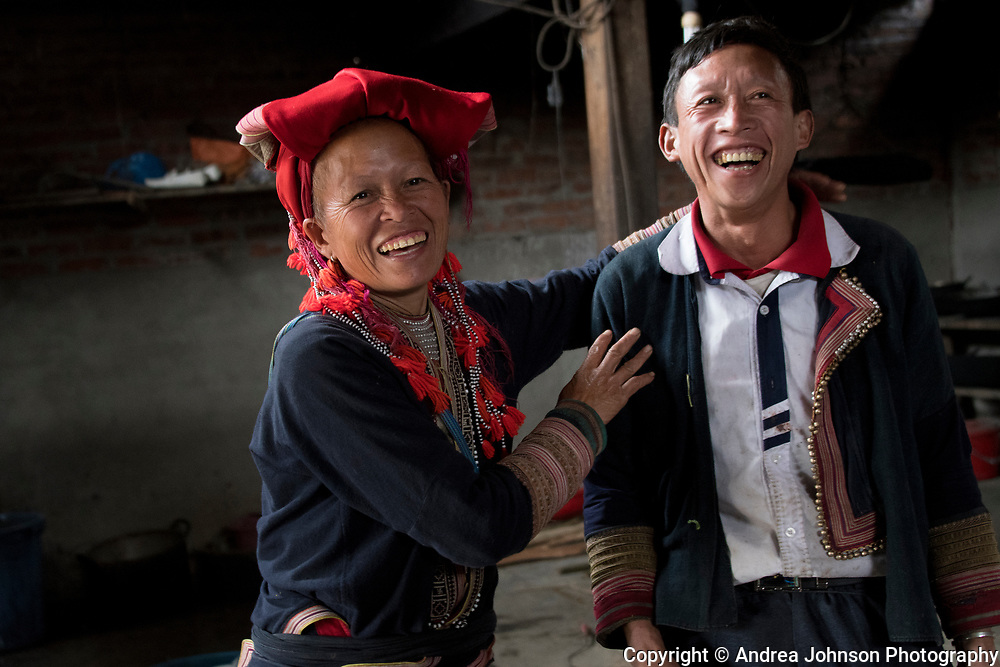 Sa Mei and her husband (name?) at her village outside of Sapa, Northern hill tribe areas, Vietnam