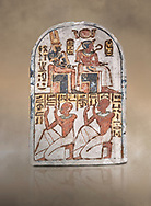 """Ancient Egyptian Stele of Amenemope dedicated to Amenhotep I and Ahmose-Nefertari, limestone, New Kingdom, 19th Dynasty, (1279-1213 BC), Deir el-Medina, Drovetti cat 1454. Egyptian Museum, Turin. <br /> <br /> The stele is dedicated to Amenhotep I and Ahmose-Nefertari by the 'Servant in the Place of Truth' Amenemope and Amennakht. The king and the queen are shown sitting on their thrones. Above the sovereign there is a solar disc flanked by two sacred cobras and their cartouches are shown to the right of each of them. In the bottom register Amenemope is shown with his son  Amennakht, who also was a """"Servant in the Place of Truth"""", in the pose of adoration. .<br /> <br /> If you prefer to buy from our ALAMY PHOTO LIBRARY  Collection visit : https://www.alamy.com/portfolio/paul-williams-funkystock/ancient-egyptian-art-artefacts.html  . Type -   Turin   - into the LOWER SEARCH WITHIN GALLERY box. Refine search by adding background colour, subject etc<br /> <br /> Visit our ANCIENT WORLD PHOTO COLLECTIONS for more photos to download or buy as wall art prints https://funkystock.photoshelter.com/gallery-collection/Ancient-World-Art-Antiquities-Historic-Sites-Pictures-Images-of/C00006u26yqSkDOM"""
