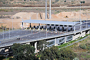 Israel, Haifa, The toll booths at the entrance to the Carmel Tunnels. A 6.5 Km highway built under the Carmel Mountain (4.7 Km of tunnelling was required)