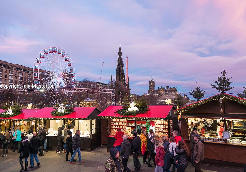 Evening view of annual Edinburgh Christmas Market in Scotland, United Kingdom