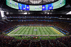 The Florida Gators kick off against the Michigan Wolverines during the Chick-fil-A Peach Bowl, Saturday, December 29, 2018, in Atlanta. ( Paul Abell via Abell Images for Chick-fil-A Peach Bowl)