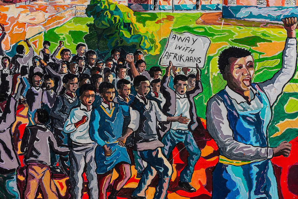 Anti-apartheid mural, Soweto (South Western townships), Johannesburg, South Africa.