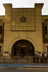"""Stratford Magistrates Court, London, July 16th 2015. Allegedly captured on video pushing a black Frenchman Souleymane Sylla off a train and chanting """"We're racist, we're racist and that's the way we like it"""", Chelsea supporters  William Simpson, Jordan Munday, Joshua Parsons, Dean Callis and Richard Barklie appear at Stratford Magistrates Court to appeal against travel bans aimed at preventing them from attending football games. PICTURED: General view of Stratford Magistrates Court"""