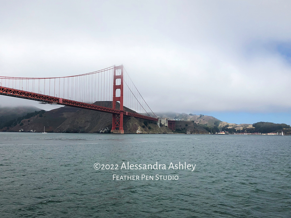 Golden Gate Bridge in fog over San Francisco Bay, as viewed from ferry. Captured on iPhone 8, because the best camera is the one you have with you!