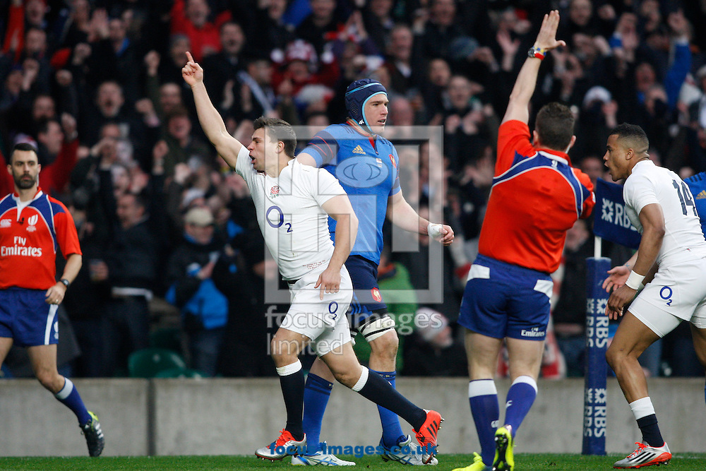 Ben Youngs of England celebrates scoring their first try during the RBS 6 Nations match at Twickenham Stadium, Twickenham<br /> Picture by Andrew Tobin/Focus Images Ltd +44 7710 761829<br /> 21/03/2015