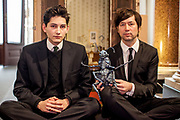 The director of the current project VRwandlung Mika Johnson (right) and Franz Kafka lookalike Marek Lentvorsky (21) with the finished model of the insect body by Gregor Samsa portrayed in front of the original faithful and modeled replica of Gregor Samsa's room in the Goethe Institut in Prague.