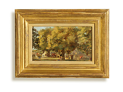 "Camp Scene<br /> Oil on Canvas<br /> Signed on Stretcher ""Van Essen"" Johannes Cornelis Jan van Essen (Dutch, 1854-1936) Gilded frame with American painting of tents under a tree"
