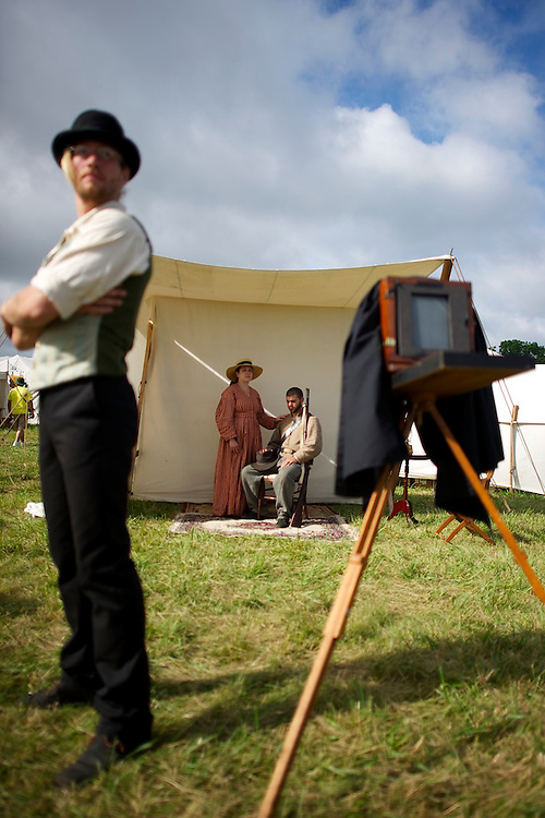 David and Heather Dansereau have their photograph taken with a wet plate 1860s process the first of the four day Gettysburg Anniversary Committee 150th Gettysburg reenactment in Gettysburg, PA on July 4, 2013.