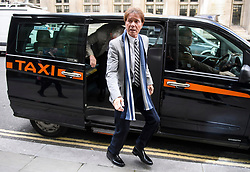 © Licensed to London News Pictures. 16/04/2018. London, UK. SIR CLIFF RICHARD arrives at the Rolls Building of the High Court in London where he is claiming damages against the BBC for loss of earnings. The 77-year-old singer is suing the corporation after his home in Sunningdale, Berkshire was raided following allegations of sexual assault made to Metropolitan Police. Photo credit: Ben Cawthra/LNP