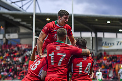 11th November 2018 , Racecourse Ground,  Wrexham, Wales ;  Rugby League World Cup Qualifier,Wales v Ireland ; Josh Ralph of Wales celebrates scoring a try with team-mates<br /> <br /> <br /> Credit:   Craig Thomas/Replay Images