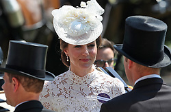 Kate, Duchess of Cambridg rides in her carriage during day one of Royal Ascot at Ascot Racecourse.