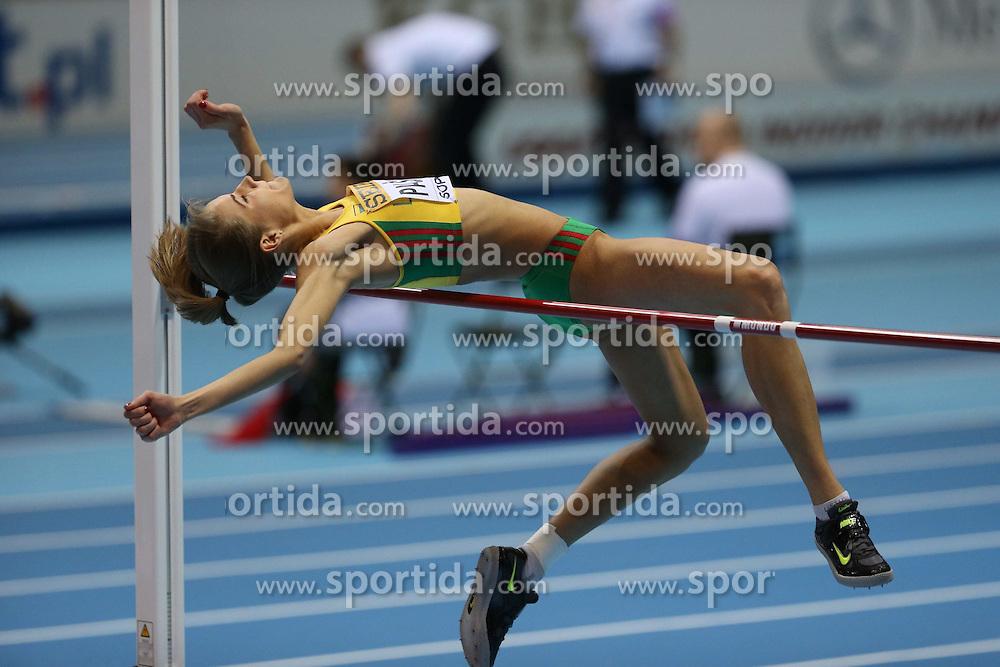 07.03.2014, Ergo Arena, Sopot, POL, IAAF, Leichtathletik Indoor WM, Sopot 2014, Tag 1, im Bild Airine Oalsyte (LTU) competite during the High Jump // Airine Oalsyte (LTU) competite during the High Jump during day one of IAAF World Indoor Championships Sopot 2014 at the Ergo Arena in Sopot, Poland on 2014/03/07. EXPA Pictures © 2014, PhotoCredit: EXPA/ Newspix/ Michal Fludra<br /> <br /> *****ATTENTION - for AUT, SLO, CRO, SRB, BIH, MAZ, TUR, SUI, SWE only*****