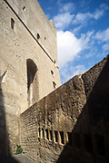 The battlements of the Castel Nuovo, Naples, Italy. First erected in 1279, it is one of the main architectural landmarks of the city.