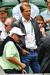 © Licensed to London News Pictures. 04/07/2016. STEFAN EDBERG watches tennis on the centre court on the seventh day of the WIMBLEDON Lawn Tennis Championships. London, UK. Photo credit: Ray Tang/LNP