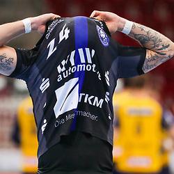 Handball, 35. Spieltag: Bergischer HC vs Rhein Neckar Loewen am 16.06.2021 im ISS Dome Düsseldorf<br /> <br /> Linus Arnesson (Bergischer HC 24) unzufrieden, enttäuscht, enttaeuscht, niedergeschlagen. im Spiel der Handballliga, Bergischer HC - Rhein Neckar Loewen.<br /> <br /> Foto © PIX-Sportfotos *** Foto ist honorarpflichtig! *** Auf Anfrage in hoeherer Qualitaet/Aufloesung. Belegexemplar erbeten. Veroeffentlichung ausschliesslich fuer journalistisch-publizistische Zwecke. For editorial use only.