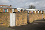 Winter sun at Cressingham Gardens estate on 22nd February 2017 in South London, United Kingdom. Cressingham Gardens is a council garden estate in Lambeth. Located on the southern edge of Brockwell Park, it comprises of 306 dwellings. It was designed at the end of the 1960s by the Lambeth Borough Council architect Edward Hollamby, and built at the start of the 1970s. In 2012 Lambeth Council proposed regeneration of the whole estate, a decision highly opposed by many residents and a campaign to stop the redevelopment has been in place since.