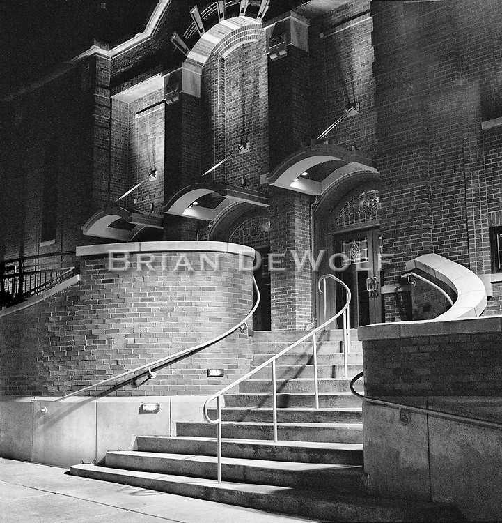 The lights resemble eyes and above them a crown of thorns in this somewhat eerie night time photograph of old St. Patrick's church in St.Charles, IL