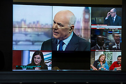 © Licensed to London News Pictures. 20/03/2016. London, UK. Former Work and Pensions secretary, IAIN DUNCAN SMITH see on a large television screen in the lobby at BBC Broadcasting House in London during an appearance on The Andrew Marr Show. Duncan Smith resigned earlier this week, claiming that George Osborne's budget cuts had gone too far.  Photo credit: Ben Cawthra/LNP