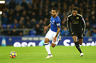 Theo Walcott of Everton gets in front of Demarai Gray of Leicester City. Premier league match, Everton v Leicester City at Goodison Park in Liverpool, Merseyside on Wednesday 31st January 2018.<br /> pic by Chris Stading, Andrew Orchard sports photography.